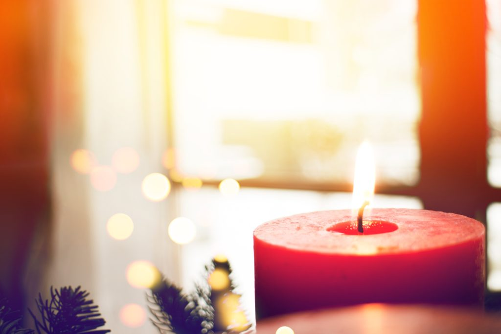 Advent candle in focus